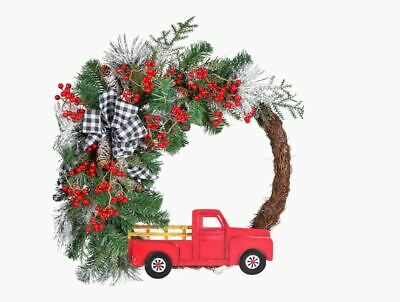 Holiday Living HL 30-in Red Truck Wood Vintage Red Truck with Christmas Trees