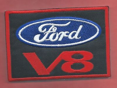 NEW 2 1/2 X 3 7/8 INCH FORD V8 IRON ON PATCH FREE SHIPPING