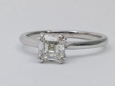 1.05 Carat Asscher Diamond Engagement Ring G IF GIA CERTIFIED 14k White Gold