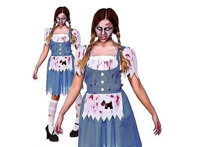 Ladies ZOMBIE COUNTRY GIRL Fairytale Halloween Fancy Dress Costume UK Sizes 6-28](Size 28 Ladies Halloween Costumes)