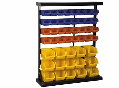 47 Bin Floor Mount Parts Rack Storage Organizer Work Shop Office Hobby Steel