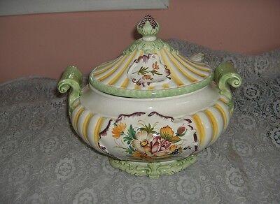 Vintage Capodimonte 3 Pc China Ornate Green Yellow Soup Tureen Italy NICE