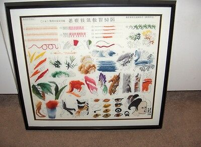 Vintage Japanese Needlecraft Embroidery Asian Art Work Framed Signed NICE