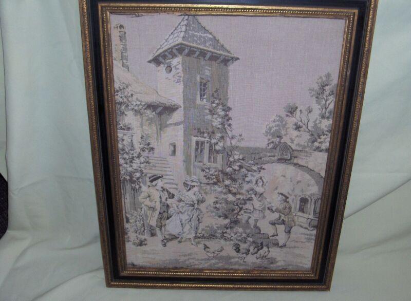 Antique French Tapestry Framed Village Scene 24x18 Art