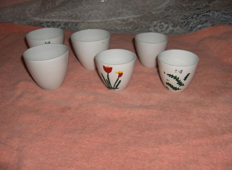 6 Vintage Coors Ceramics White Pharmaceutical Cooking Measuring Cups RARE
