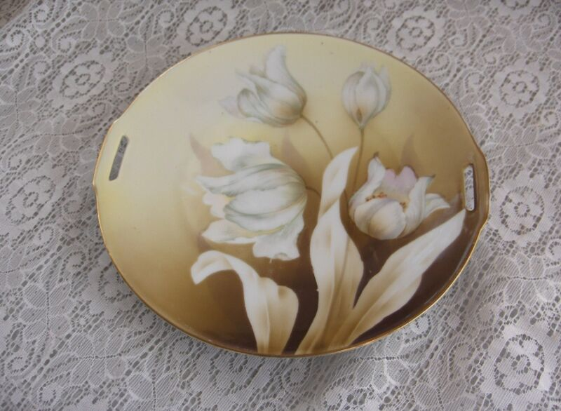 Vintage Antique Handled China Plate R.S. Germany White Tulips