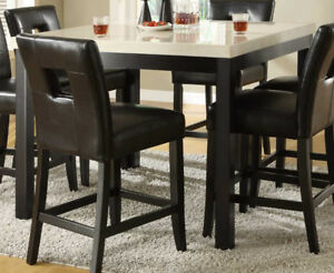 Faux Marble Bar Height Dinning table with 4 faux leather chairs