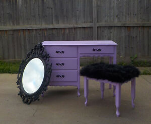 FRENCH PROVINCIAL 3 PIECE VANITY DESK SET - LAVENDER ORCHID