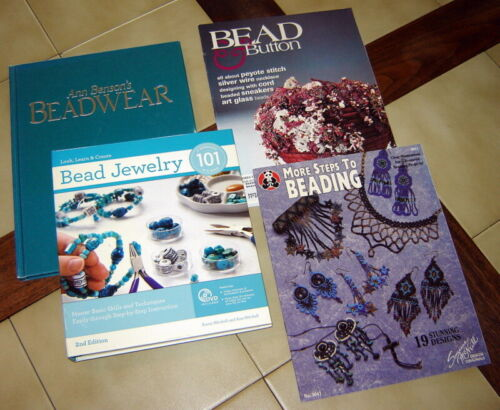 Lot (4) BEADWEAR  / BEAD JEWELRY Instruction Books & Magazines (+1 DVD) Crafting