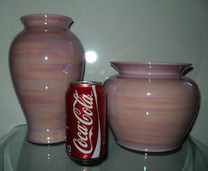 NEW 2 PINK SWIRL DESIGN DECORATIVE VASES HOME DECOR SEARS NWT Cornwall Ontario image 2