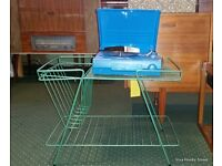 Record Player Stand magazine rack and basket turquoise metal vinyl storage