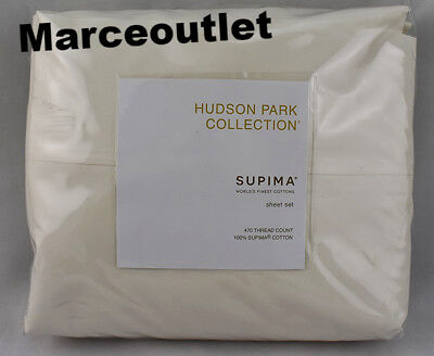 Hudson Park Supima Percale Solid 470 Thread Count CAL.KING Sheet Set Ivory
