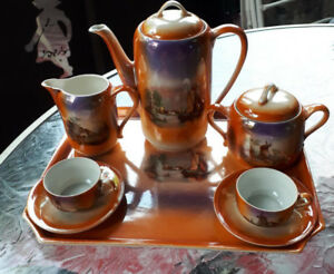 Stunning antique lustreware hot chocolate coffee set