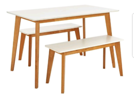 Brand new dining solid wood table bench set