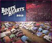 2 boots and hearts tickets for sale, plus tent camping!