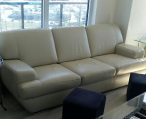 Gorgeous real leather cream couch