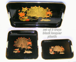 3 piece black lacquered tray set, gold/red peacocks