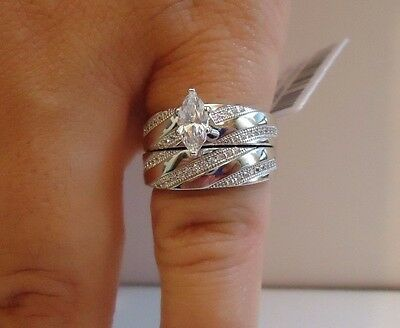 MARQUISE CENTER WEDDING RING & BAND SET W/  LAB DIAMONDS/ 925 STERLING SILVER Center Diamond Wedding Set