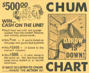 Buying CHUM HIT PARADE CHARTS from radio station 1050 CHUM Kitchener / Waterloo Kitchener Area image 6