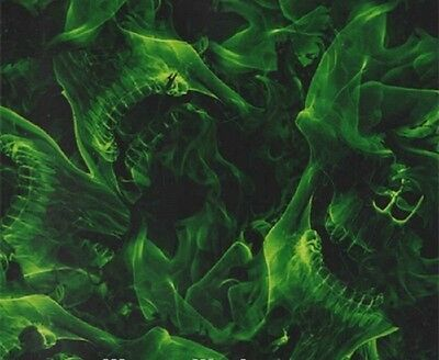 Hydrographic Water Transfer Hydrodipping Film Hydro Dip Green Skulls 1sq