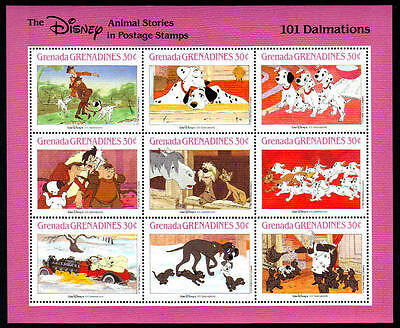 GRENADA - 1987 - DISNEY - 101 DALMATIANS - DOGS - ANIMAL STORIES - MINT SHEET!