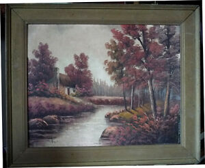 New England Fantasy Oil Painting by Joseph Collazzi 1930's Stratford Kitchener Area image 1
