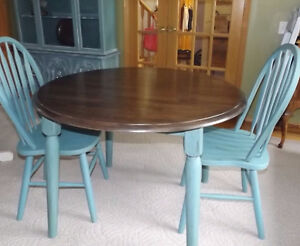 Blue/green table and 2 chairs