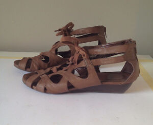 STRAPPY BROWN LEATHER LACE UP SANDALS - from CALL IT SPRING
