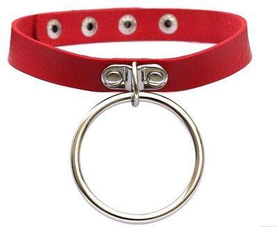 """Collier soumise / esclave rouge 15mm en """"cuir"""" avec gros anneau métal  / SM"""