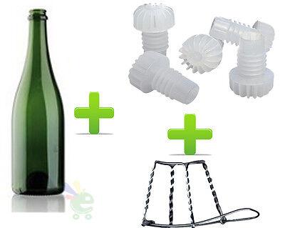 Kit Set 50 Flaschen Sekt Vino + 50 Mützen Und Käfige Abfüllen