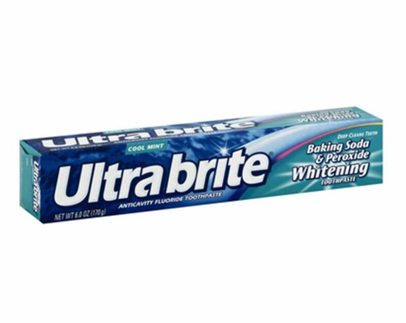 Ultra brite Baking Soda - Peroxide Whitening Toothpaste, Cool Mint 6 oz (8 pack)
