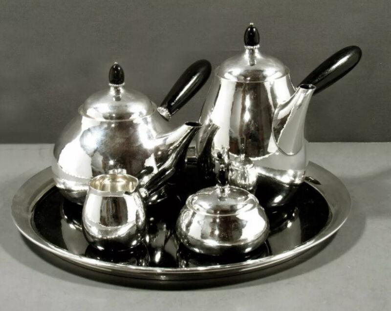 Georg Jensen Sterling Tea & Coffee Set Creamer Sugar c1960 80B Ebony Handle