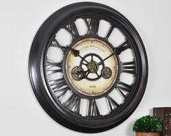 24 in. Round Gear Works Wall Clock Industrial Style Home Decor Black Metallic
