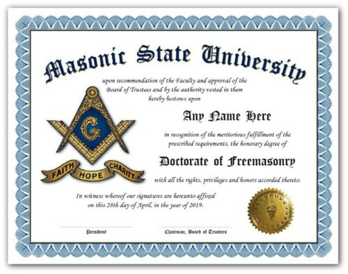 Masonic University Freemason Certificate Diploma w/Gold Seal Novelty Logo - Gift