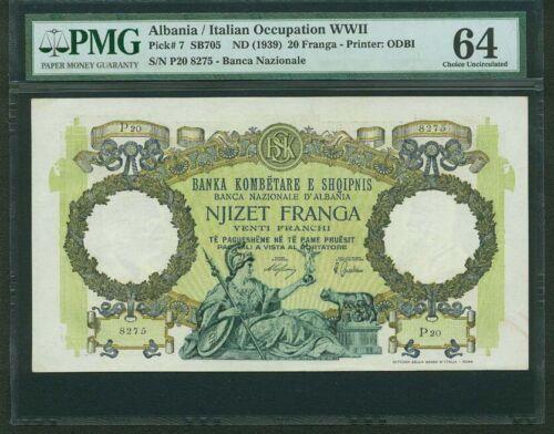 ALBANIA  1939  20 FRANGA BANKNOTE, PMG CERTIFIED CHOICE UNCIRCULATED-64
