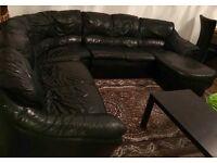 Real leather black corner sofa