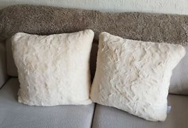 2 x 50cm Fluffy Cream Cushions