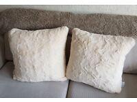 2 x 50cm Fluffy Cream Cushions