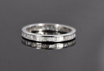 $2850 18k White Gold Baguette Diamond 3mm Channel Set Eternity Wedding Band Ring (3mm Channel Diamond Eternity Ring)
