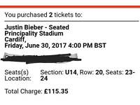 Justin Beiber Cardiff tickets 30th June
