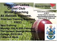 FREE First Two Training Sessions. Watsonian Ladies Cricket Club: Looking for players