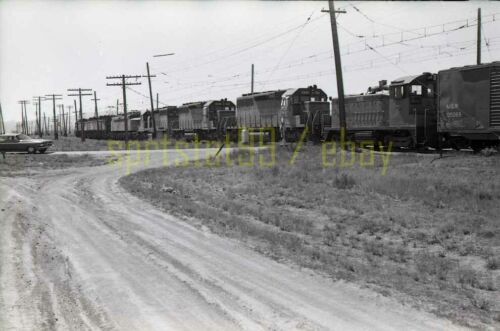 1972 MILW Milwaukee Road Locomotive Lineup @ Montana - Vtg Railroad Negative