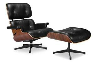 Eames Lounge Chair Replica (Real Leather; Black and White)