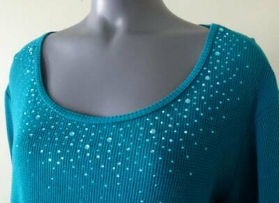 QUACKER FACTORY Long Sleeve Waffle Top Sparkle Scoop Neck Teal Green Blue XL 18 Glitter Scoop Neck Top
