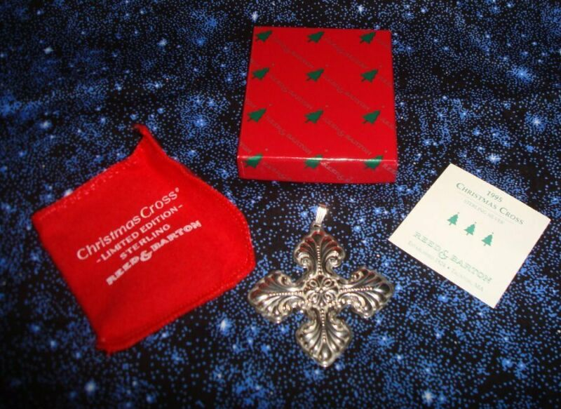 Reed & Barton 1995 Sterling Silver Christmas Cross Mint w Box  Pouch