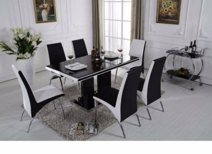 black white glass dining table