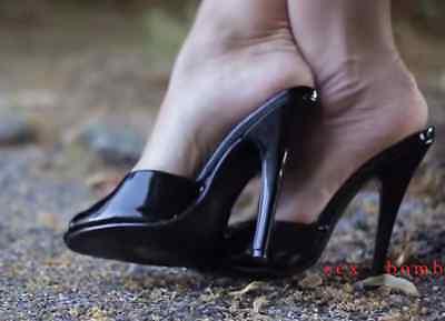 Domina-schuhe (SEXY holzschuhe sandale domina schwarz glänzend ABSATZ stift 15 VON 35 BIS 44)