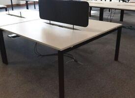 Modern white desks with screens - black frame 1600mmW x 1600mmD ** FAB CONDITION**