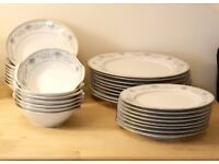 Noritake Blue Hill 8 of each dinner plates, fish plates, soup bowls and dessert bowls.