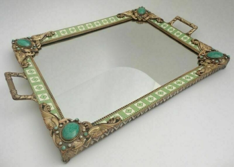 Antique Double Handle Austrian Jeweled Vanity Tray